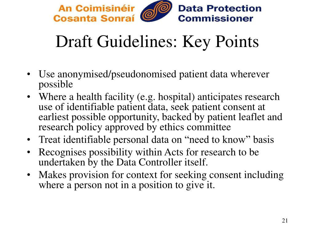 Draft Guidelines: Key Points