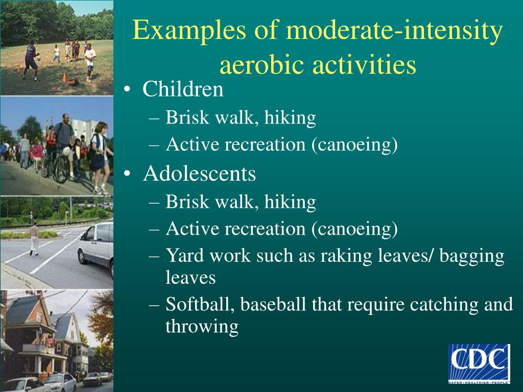 Examples of moderate-intensity aerobic activities