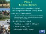 phase i evidence review