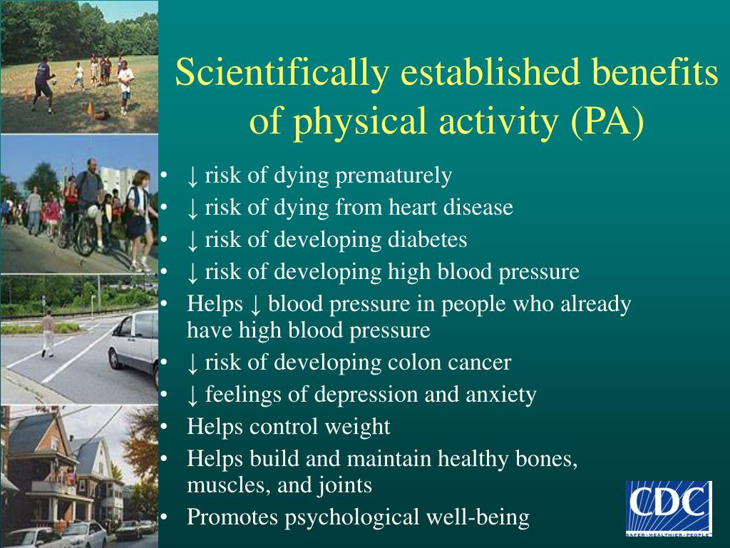 Scientifically established benefits of physical activity (PA)