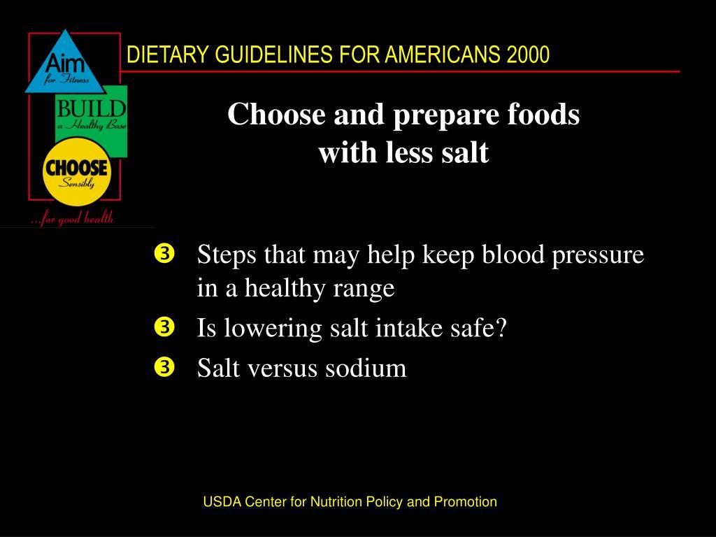 Choose and prepare foods