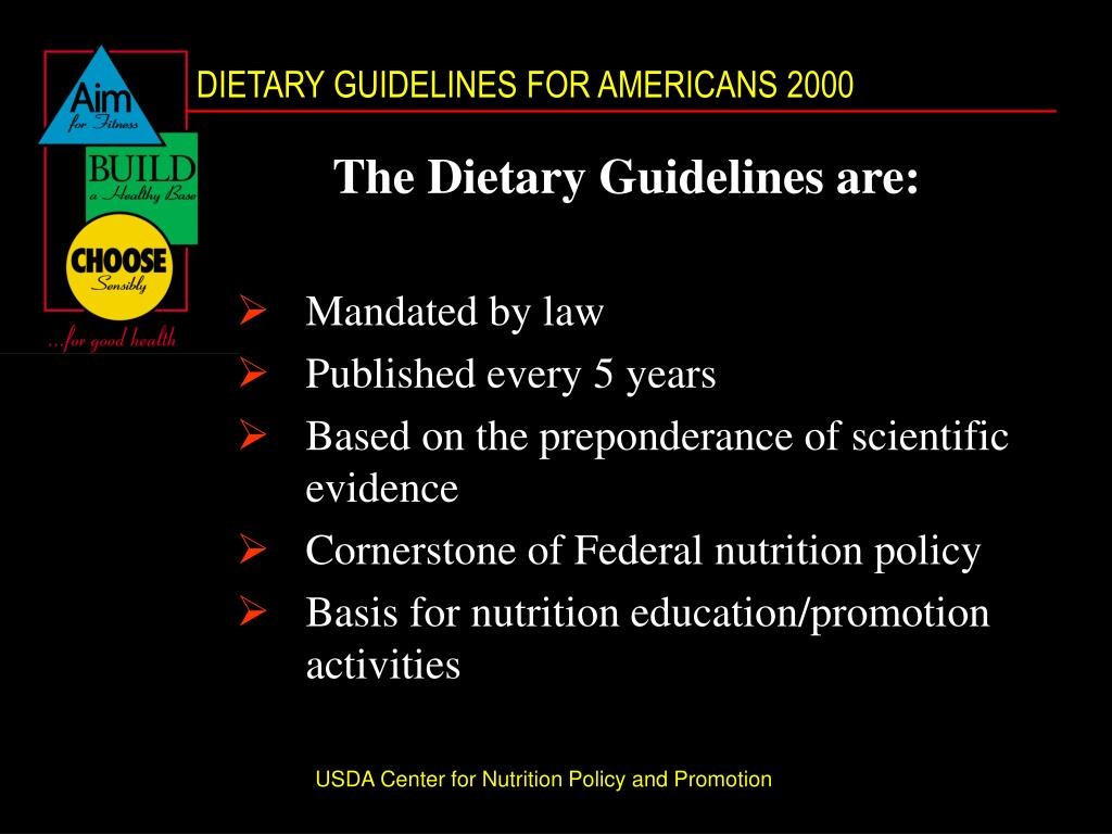 The Dietary Guidelines are:
