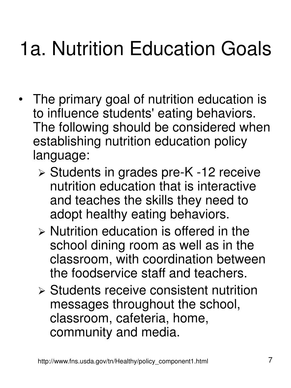 1a. Nutrition Education Goals