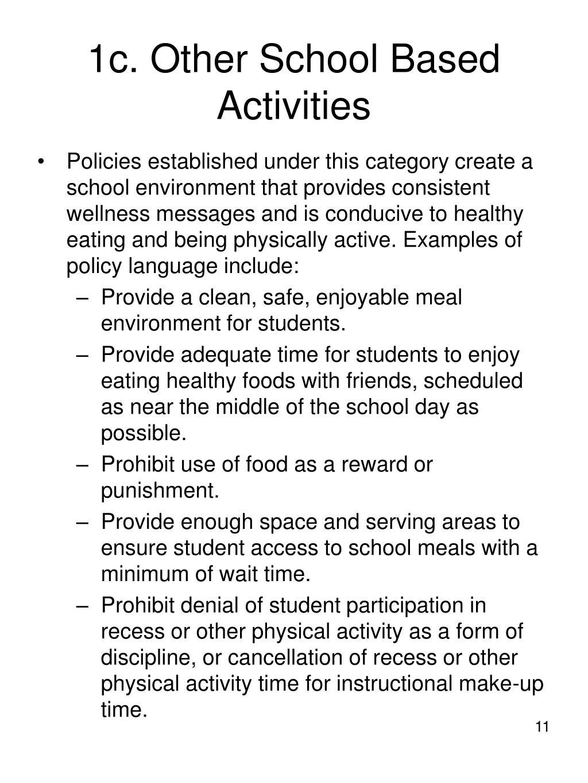 1c. Other School Based Activities