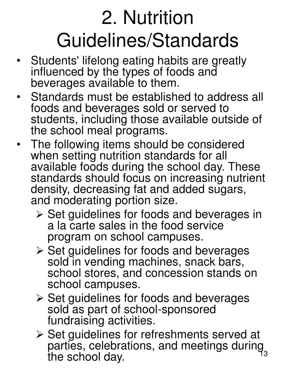 2. Nutrition Guidelines/Standards