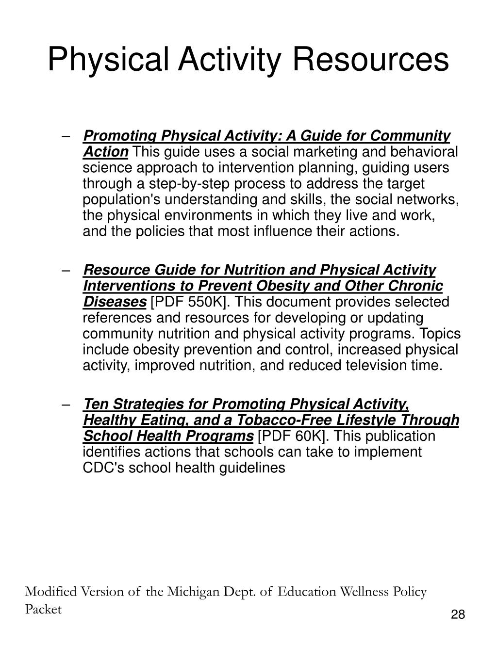 Physical Activity Resources