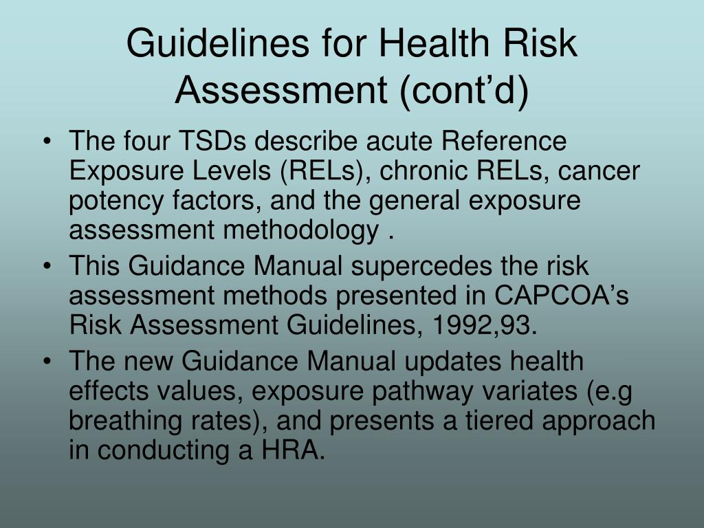 Guidelines for Health Risk Assessment (cont'd)