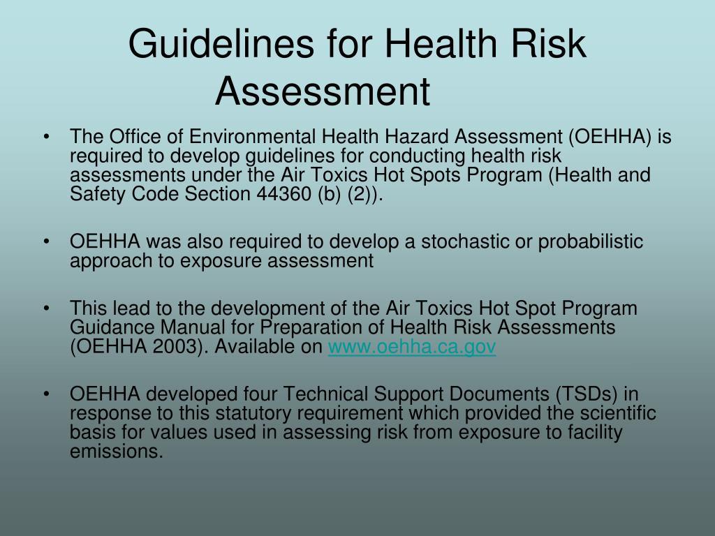 Guidelines for Health Risk Assessment