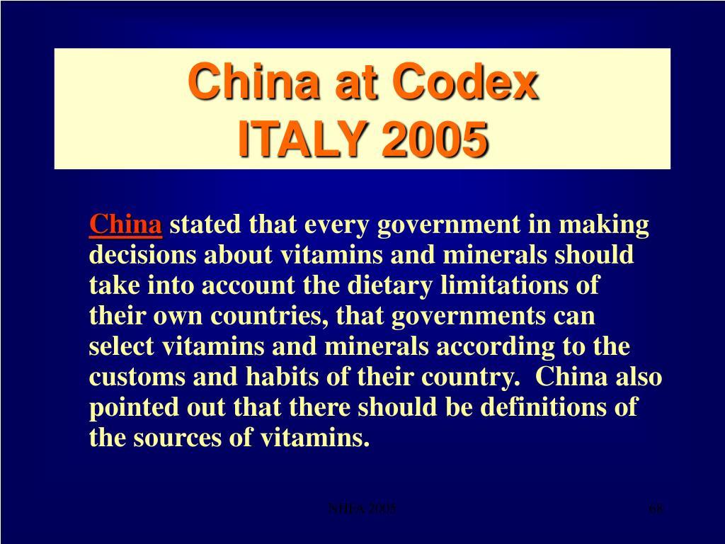 China at Codex