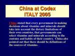 china at codex italy 2005