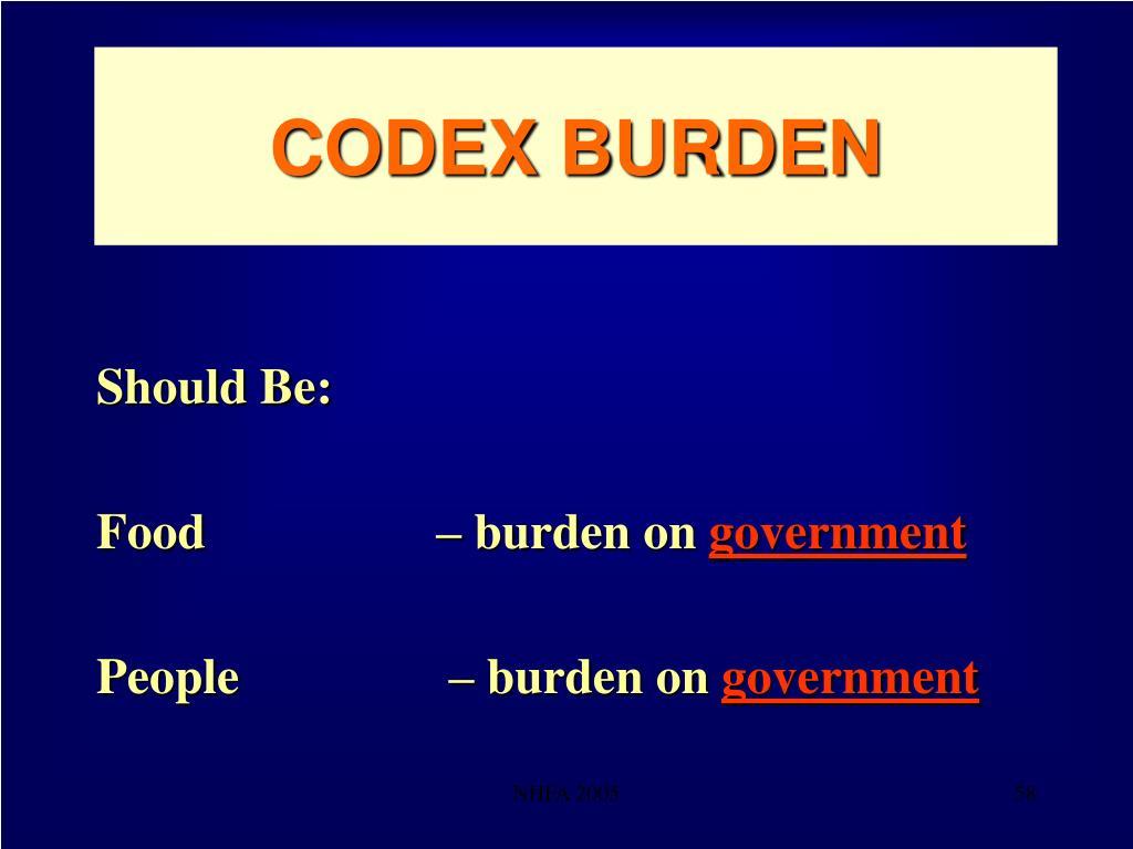 CODEX BURDEN