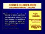 codex guidelines freedom infringing language48