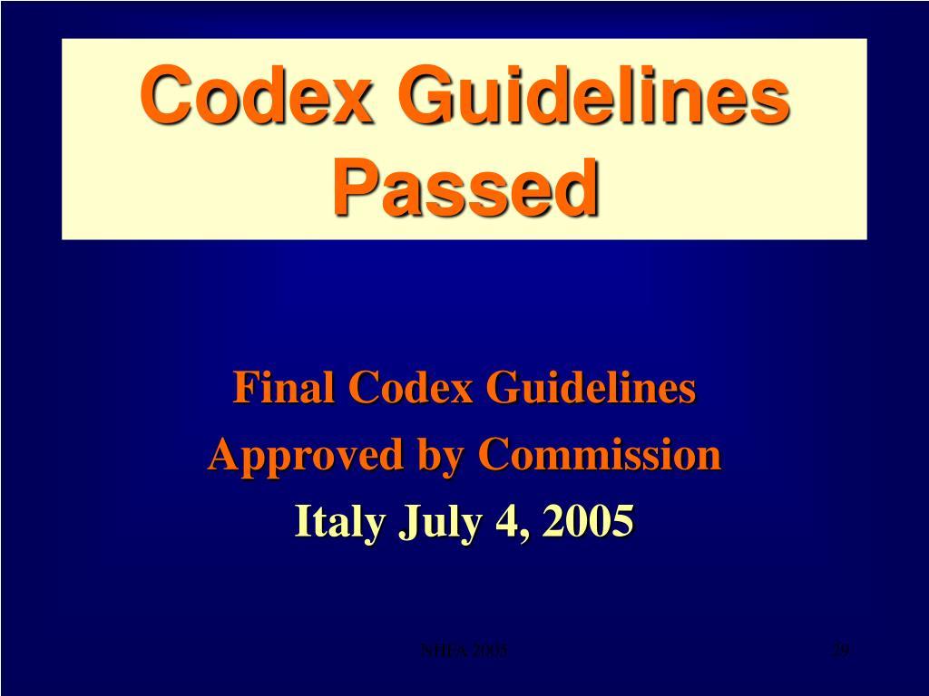 Codex Guidelines