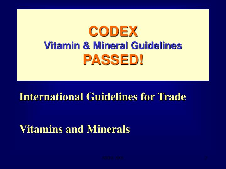 Codex vitamin mineral guidelines passed