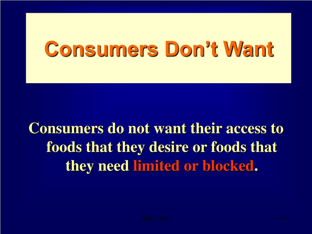 Consumers Don't Want