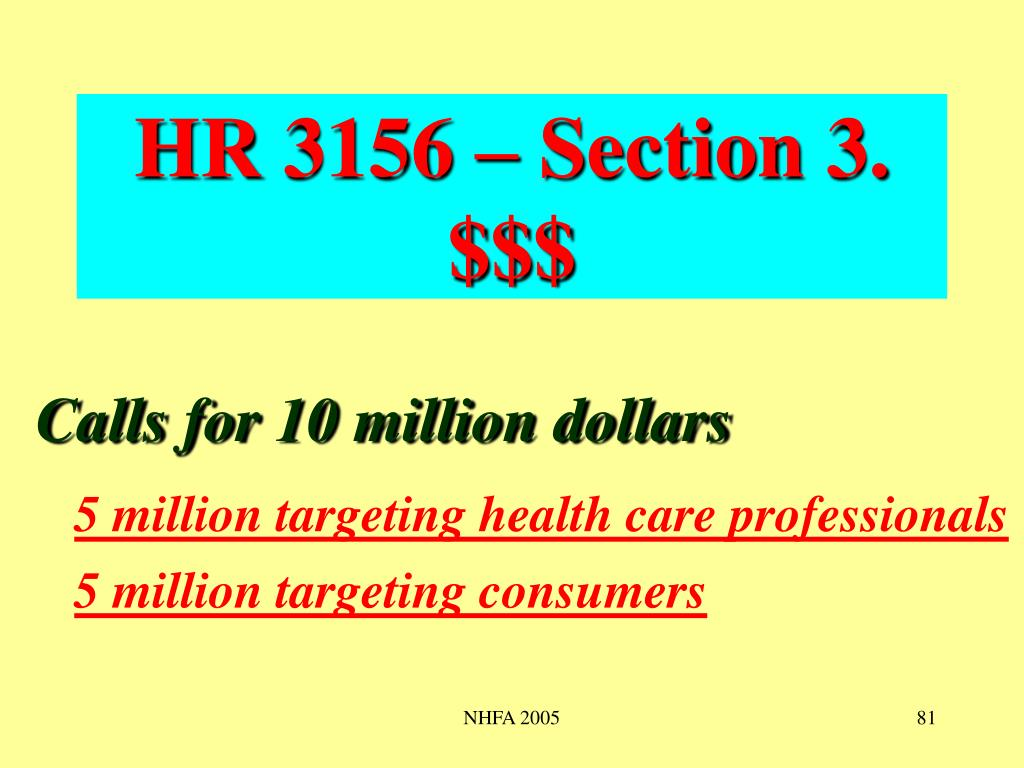 HR 3156 – Section 3. $$$