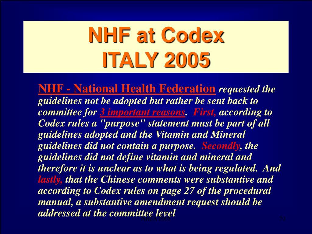 NHF at Codex