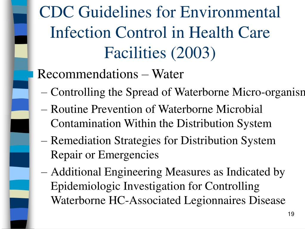 CDC Guidelines for Environmental Infection Control in Health Care Facilities (2003)