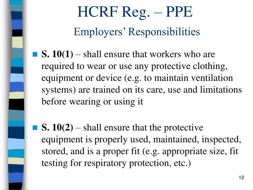 HCRF Reg. – PPE