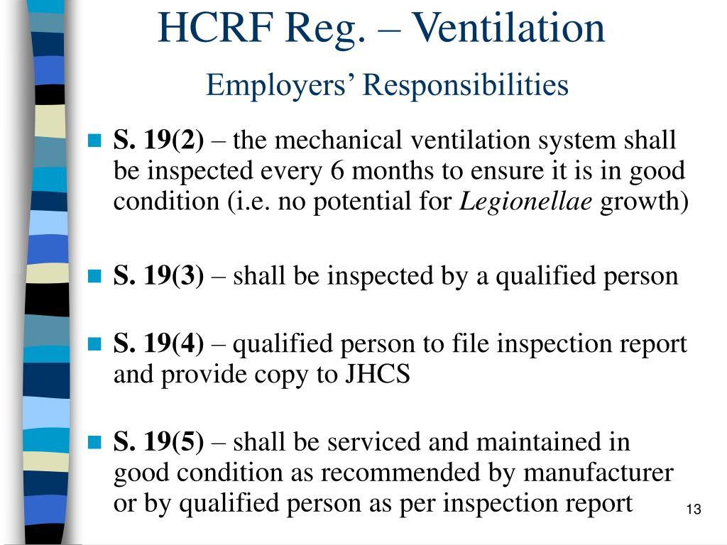 HCRF Reg. – Ventilation
