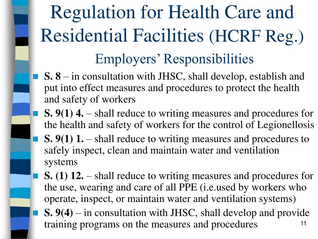 Regulation for Health Care and Residential Facilities