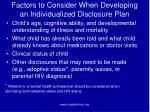factors to consider when developing an individualized disclosure plan