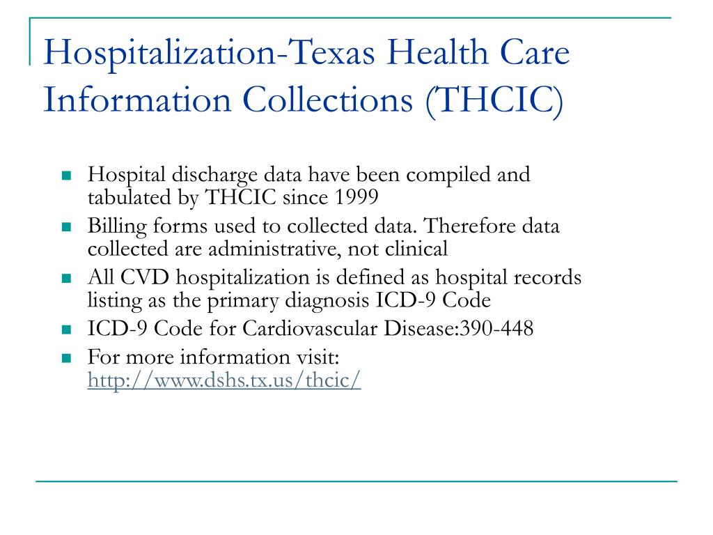 Hospitalization-Texas Health Care Information Collections (THCIC)
