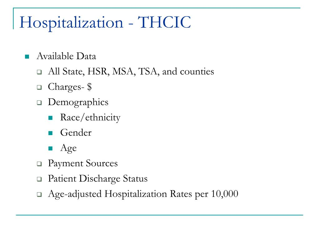 Hospitalization - THCIC