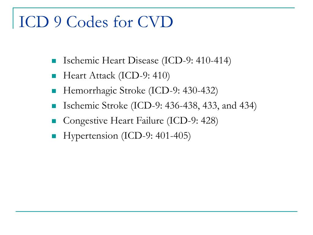 ICD 9 Codes for CVD