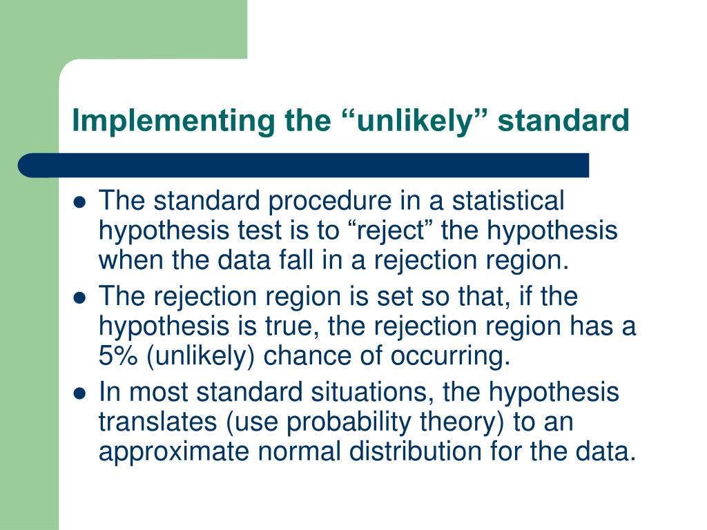 """Implementing the """"unlikely"""" standard"""