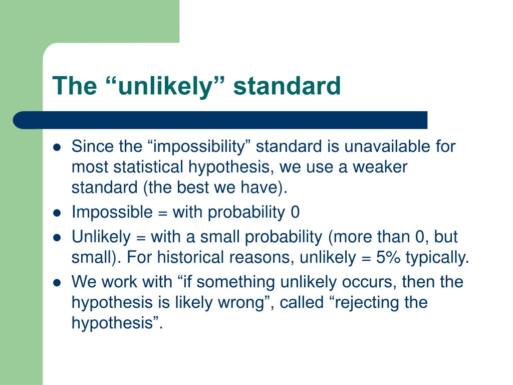 """The """"unlikely"""" standard"""