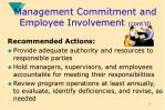 management commitment and employee involvement cont d9