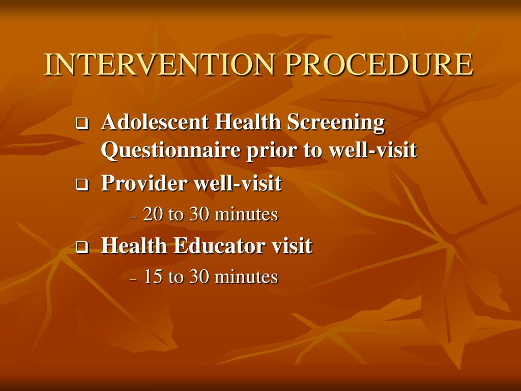 INTERVENTION PROCEDURE