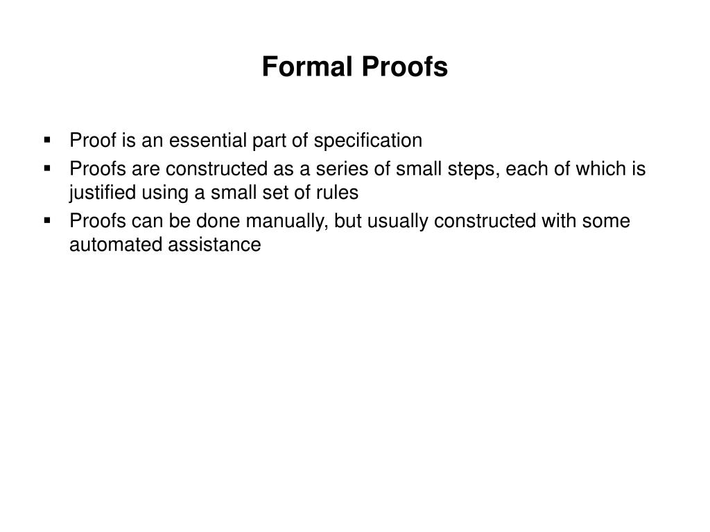 Formal Proofs