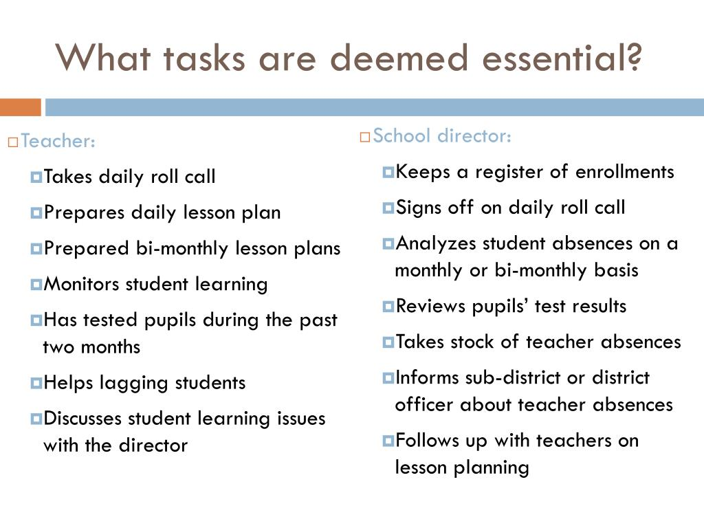 What tasks are deemed essential?