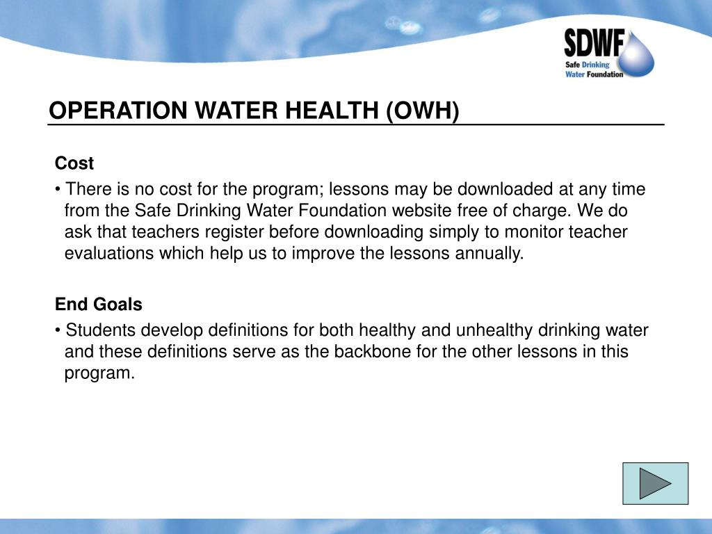 OPERATION WATER HEALTH (OWH)