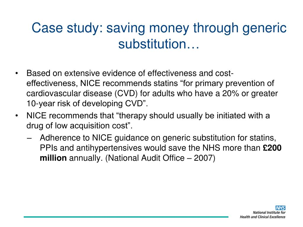 Case study: saving money through generic substitution…