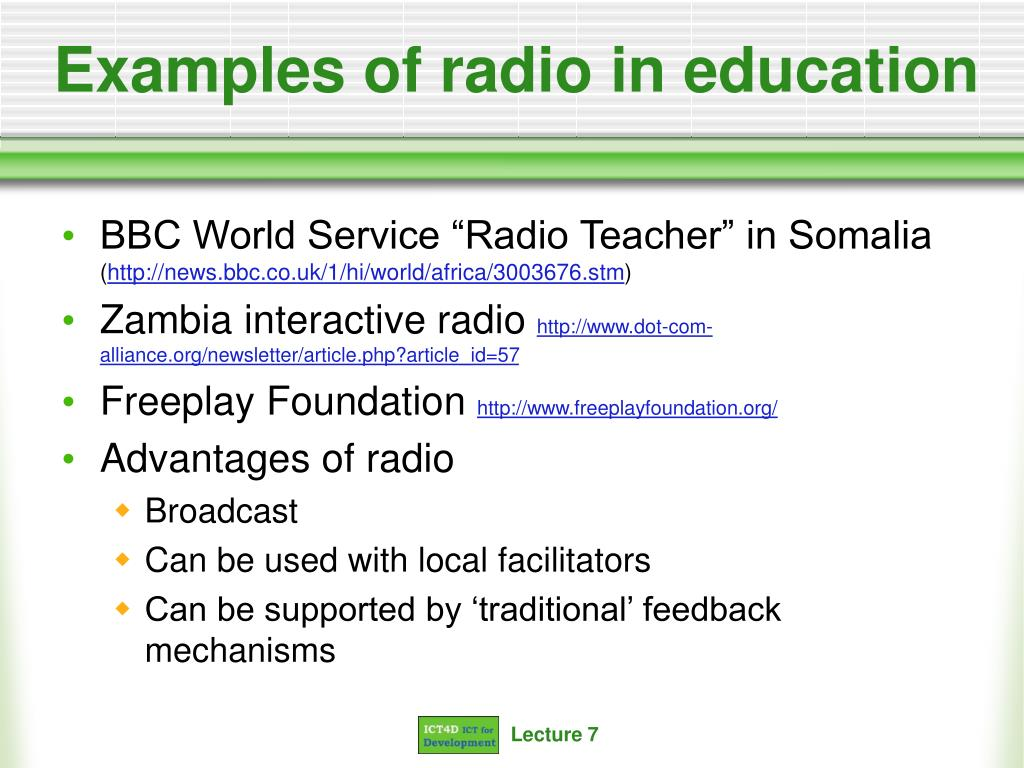 Examples of radio in education