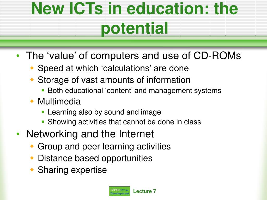 New ICTs in education: the potential