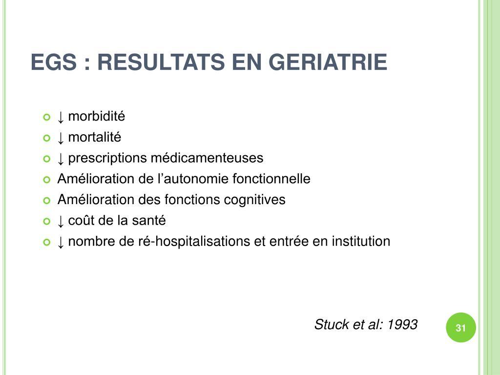 EGS : RESULTATS EN GERIATRIE