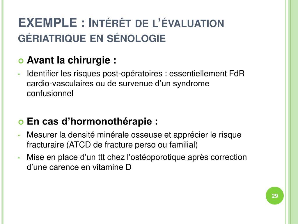 EXEMPLE : Intérêt de l'évaluation gériatrique en sénologie