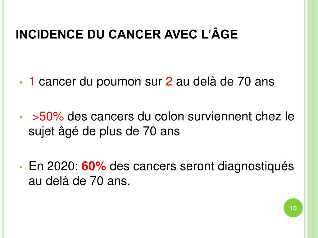 INCIDENCE DU CANCER AVEC L'ÂGE