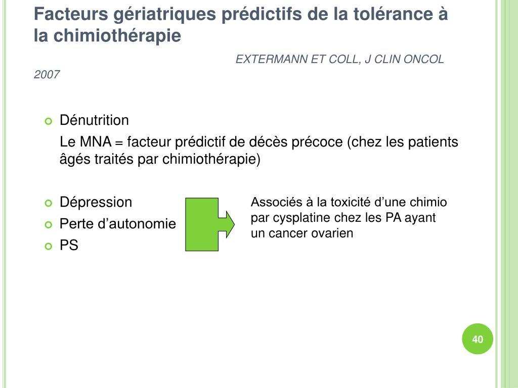 Facteurs gériatriques prédictifs de la tolérance à la chimiothérapie