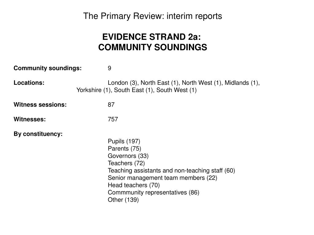The Primary Review: interim reports