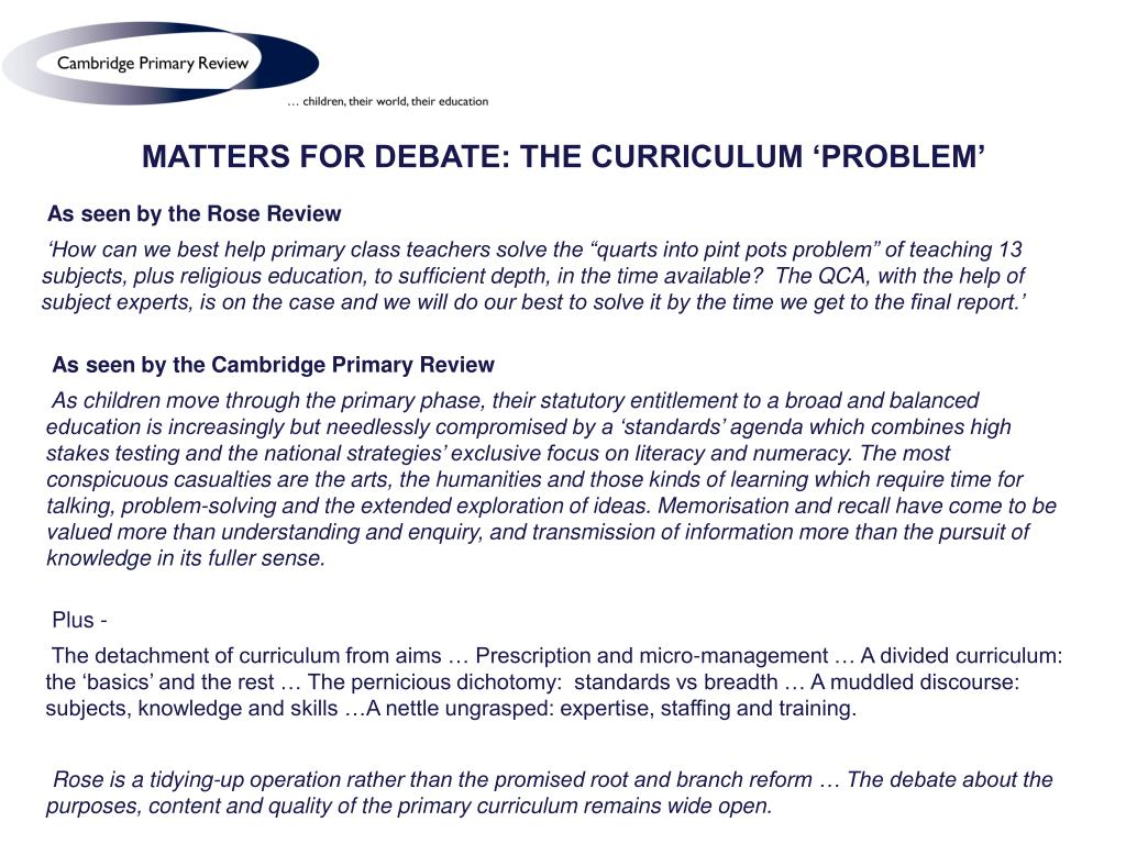 MATTERS FOR DEBATE: THE CURRICULUM 'PROBLEM'