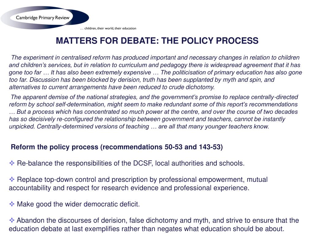 MATTERS FOR DEBATE: THE POLICY PROCESS