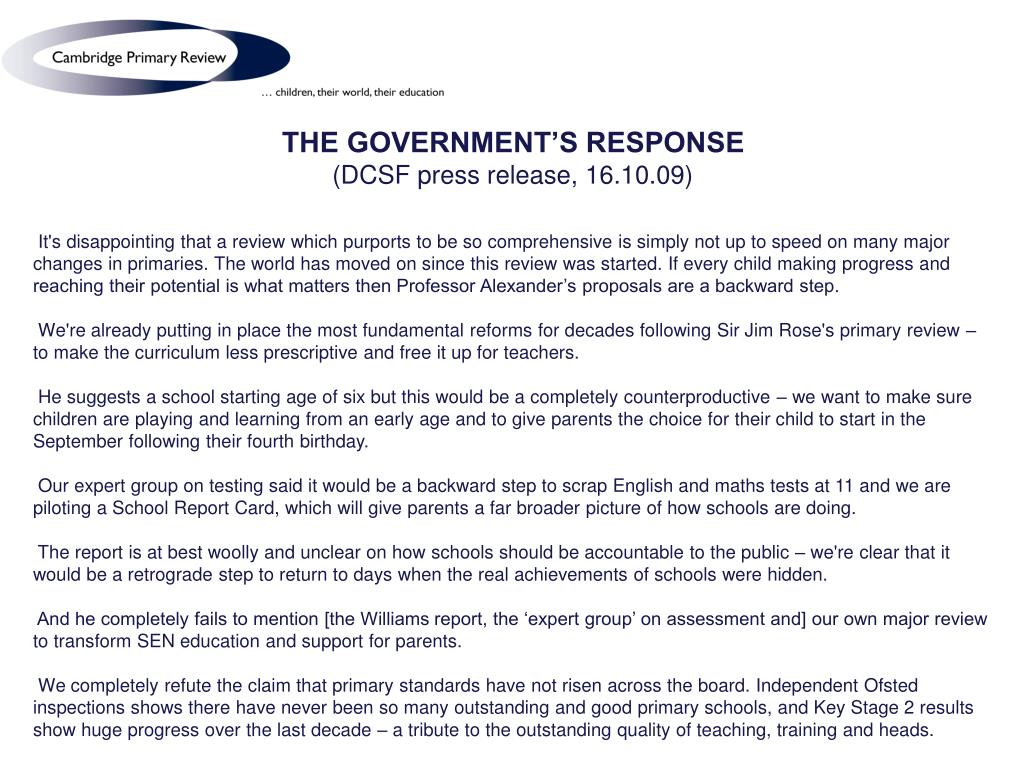 THE GOVERNMENT'S RESPONSE