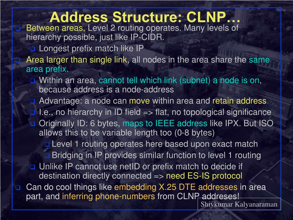 Address Structure: CLNP…