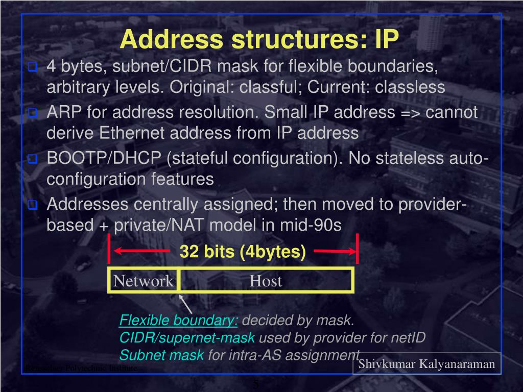 Address structures: IP