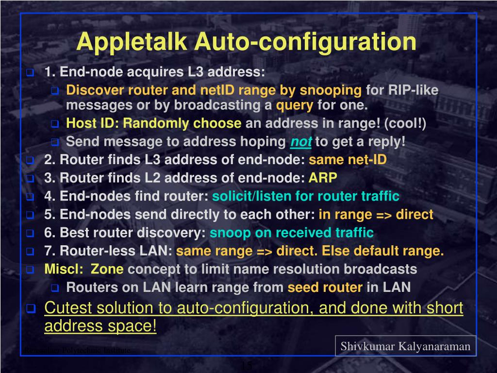 Appletalk Auto-configuration